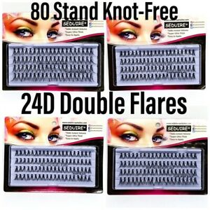 KNOT-FREE INDIVIDUAL FALSE EYELASHES 80 STAND SUPER THICK FLARE VOLUME LASHES