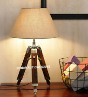 Nautical Table Shade Lamp Brown Wooden Tripod Stand Home Decor
