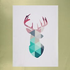 Geometric Coral Deer Head Canvas Prints Wall Art Print Poster Picture Unframed C
