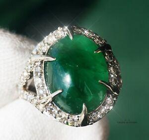 Emerald Gold Ring Diamond Natural Zambian GIA Certified 9.18CTW RETAIL $11600