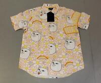 RIPNDIP Men's Daisy Daze Short Sleeve Button Up Shirt AB3 Pink/White Large NWT
