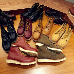 Vintage Men Boots Lace-Up Genuine Leather Boots Wing Men Handmade Work Travel We