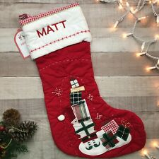 """NWT Pottery Barn Kids Quilted Stocking Santa w/ Gifts Red """" MATT"""""""