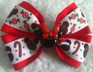 """Girls Hair Bow 4"""" Wide Christmas Candy Cane Red Minnie Flatback French Barrette"""