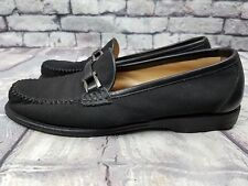 Salvatore Ferragamo Black Suede Moccasin Loafers Flats Shoes sz 6 ½ B 6.5 Italy