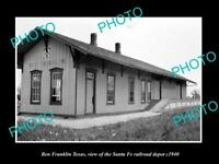 OLD LARGE HISTORIC PHOTO OF BEN FRANKLIN TEXAS, THE SANTA FE RAILROAD DEPOT 1940