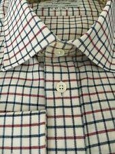 """Harvie /& hudson 18.5//36/"""" coton brossé l vert//rouge carreaux simple cuff shirt"""