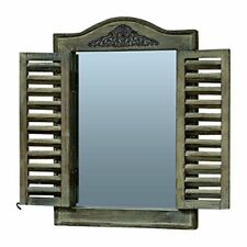 The French Country Style Rustic Window Mirror with Shutters, Sustainable Wood,