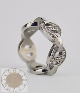 Michael Kors Ring, Size 7, Heritage Maritime Silver Tone Ring MKJ3994, New