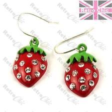 Jewelled RED Strawberry EARRINGS Fashion Rockabilly RETRO FRUIT austrian crystal