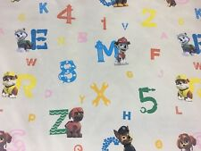 Children's Paw Patrol Puppy Print 100% Cotton Craft Fabric Material Per Metre