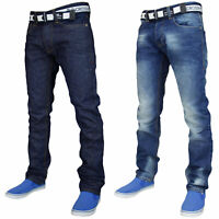 Mens Straight Leg Jeans Denim Casual Pants Regular Fit Cotton Trouser Free Belt