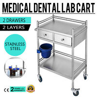 Hospital Clinic Medical Serve Dental Lab Cart Trolley 2 Layer Stainless GT