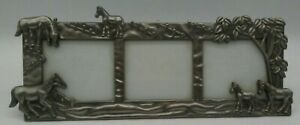 """Vtg 3D Pewter Horse Equestrian 11.5""""L Picture Frame Tabletop HOLDS THREE PHOTOS"""