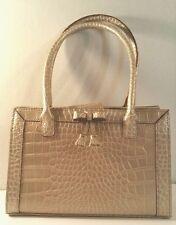 Liz Claiborne Purse Handbag Platinum Beige Crocodile Print Fashion Accessory