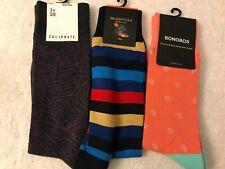 3 NEW Pair of men's BONOBOS, BUGATCHI & CALIBRATE dress socks