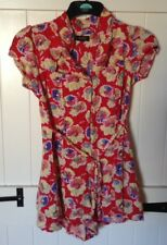 Size 10 River Island Floral Playsuit, Red