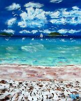 Blue BEACH Ocean Original Art PAINTING Modern Contemporary Seagulls Large 5x4ft