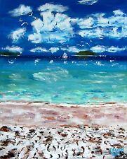 Blue BEACH Ocean Original Art PAINTING Modern Contemporary Seagulls Large 5x4ft