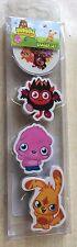 BNIP New Moshi Monster Set of 4 Erasers - Gang, Super Diavlo, Poppet, Katsuma
