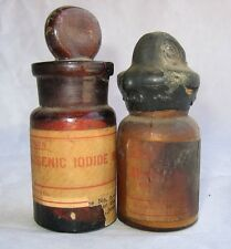 VTG 2x Merck Arsenic Bottles - Iodide Apothecary Steampunk Pharmacy Poison Rx