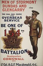 WW1 RECRUITING POSTER CANADIAN 154th BN STORMONT DUNDAS NEW A4 PRINT CANADA