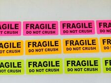 """50 1"""" x 3"""" Rainbow Pk FRAGILE DO NOT CRUSH Stickers Labels Org,Pink,Yellow Neon"""