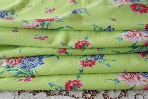 """Chartreuse & Red Floral Never Used Vintage Cotton SeerSucker Fabric~83""""X36"""""""