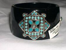 Brighton NEPAL Wide Black Bangle Bracelet Turquoise Beaded Hinged  NWT $104