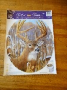 """Toilet Tattoos Deer Buck removable reusable new unused round seats 12 x 13.5"""""""