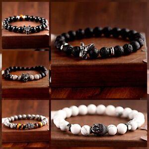 Fashion Natural Stone Lava Stone Wolf Buddha Beads Men Women Elastic Bracelets