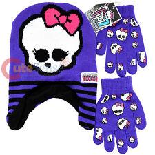 Monster High Laplander Beanie Hat Gloves Set - Skull Logos Purple