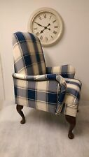 Small Bedroom Amchair in Blue Check Alderney fabric. Custom made.