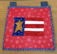 Quilt Wall Hanging, Appliquéd Flag, Stars, Stripes, Red, White, Blue, Mustard