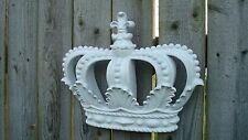 NEW ** WHITE**  CROWN Wall Plaque Decor Nursery Crib BED Crown Cottage bedroom