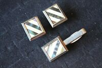 Cuff Links tie clip Mother of Pearl Black and white stripe silver plated Vintage