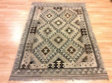 ORIGINAL Handmade Afghan Tribal NATURAL Un Dyed Wool Kilim Rug 130x184cm 50%OFF