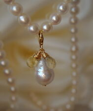 Barock Perle Citrin Anhänger vergoldet Baroque Pearl Citrine briolett Pendant