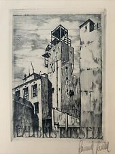 Raimond ROSSELL Spain Town View Exlibris signed Etching C3 Radierung