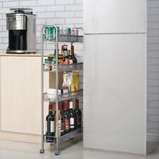4-Tier Gap Kitchen Slim Slide Out Storage Tower Rack with Wheels, Cupboard