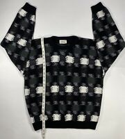 Mens Vintage Protege Pullover Sweater USA TAG Black/Gray /White Size XL