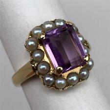 Antique Victorian Edwardian 14K Gold Amethyst + Pearls Ladies Halo Ring Size 4.5