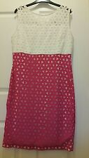 Next Dress Formal Evening Dress with Laser cut Ivory Cream and Pink Size 14