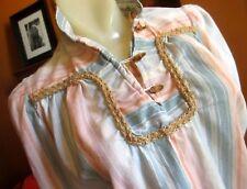 MEDIUM THIN True Vtg 70s Womens Wooden Button Striped PEASANT Boho Hippy TOP