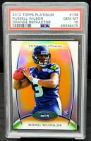 2012 Platinum ORANGE REFRACTOR Seahawks RUSSELL WILSON RC Card PSA 10 GEM MINT