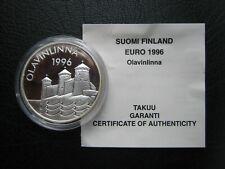 Finland 1996 Proof 20 Euro Silver Crown Coin ~ Olavinlinna ~ with Info COA Card