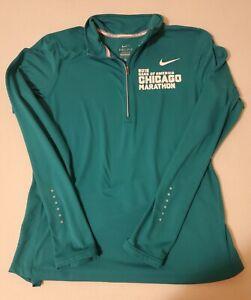 Nike Womens Sz Medium 1/4 Zip Long Sleeves 2015 Chicago Marathon thumb holes