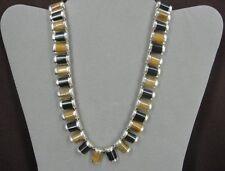 Silver Mexico Cii Pierced Earrings Necklace Black Onyx Tiger Eye Stone Sterling