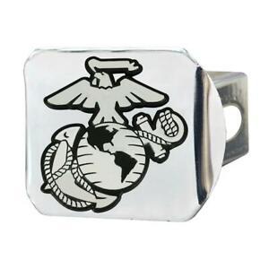 USMC Eagle Globe & Anchor Hitch Cover - Marine Corps Chrome Metal Hitch Cover