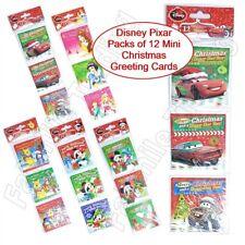 Disney Pixar 12 Pack Mini Christmas Cards Greeting Kids Children School Nursery